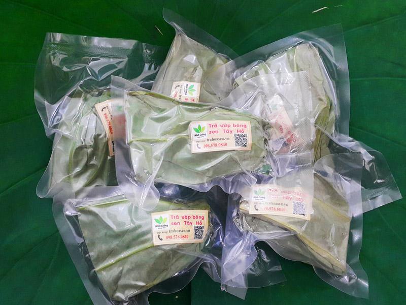 sản phẩm trà ướp bông sen đặc biệt của trà sen Minh Cường