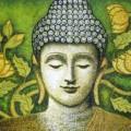 hoa sen và Đức Phật (tranh sơn dầu)