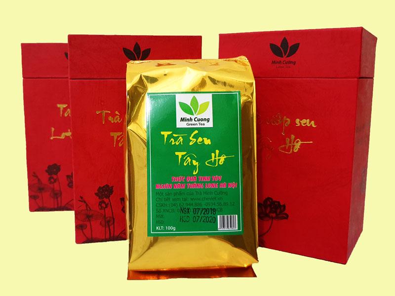 Hộp trà ướp sen Tây Hồ cao cấp của Trà sen Minh Cường