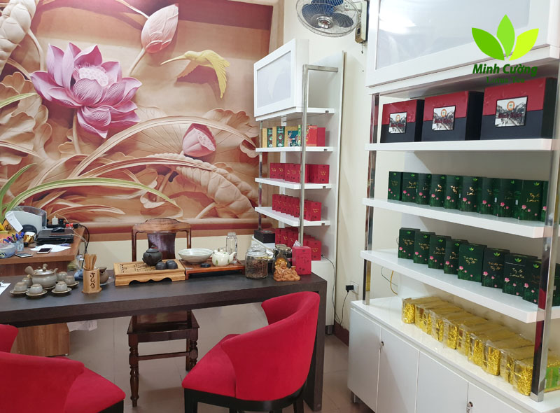 Một góc cửa hàng Trà Sen Minh Cường